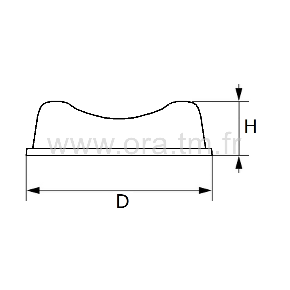 BUE7 - BUTEE AMORTISSEUR - FIXATION ADHESIVE