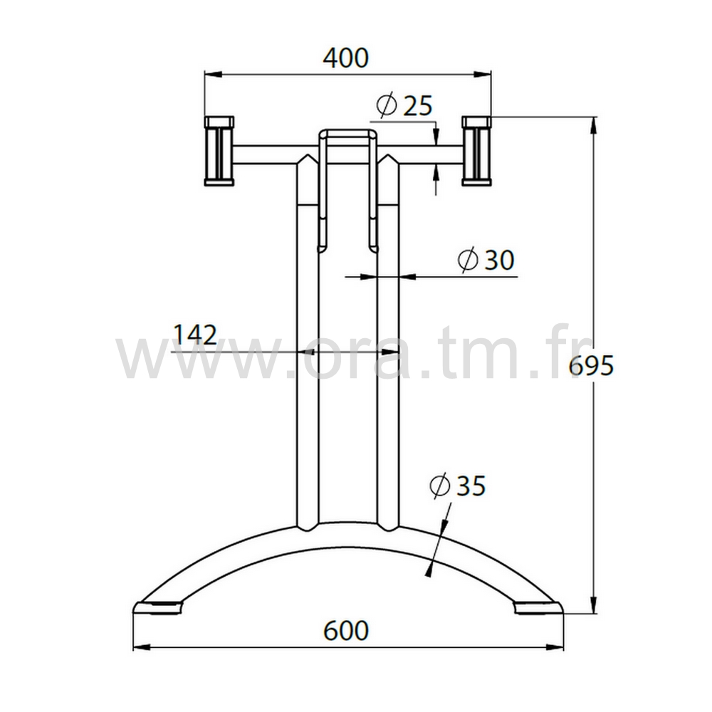 MECAPLI - PIETEMENT TABLE PLIANTE - APPUI TUBE CYLINDRIQUE
