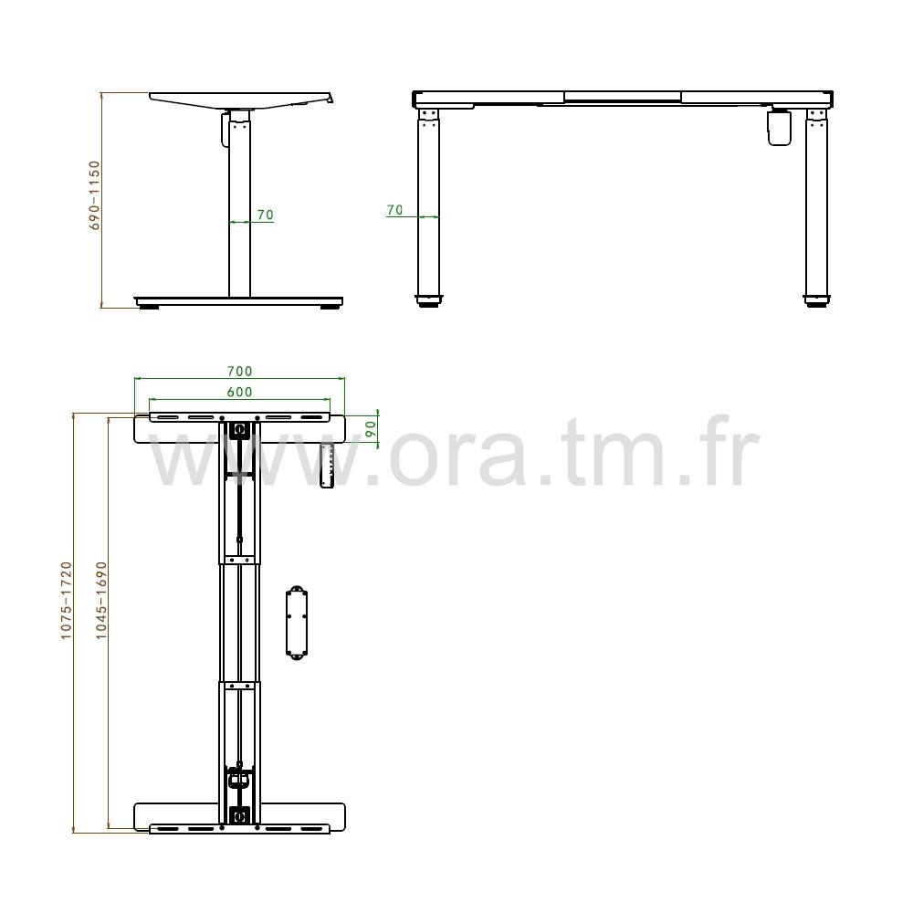 MOTOR1 - SYSTEME TABLE REGLABLE - ELECTRIQUE 1 MOTEUR