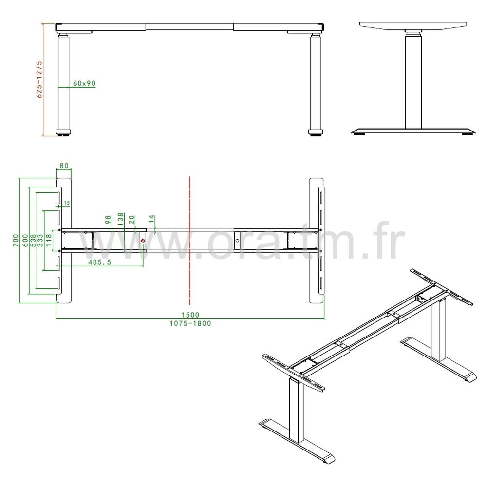 MOTOR2B - SYSTEME TABLE REGLABLE - ELECTRIQUE 2 MOTEURS