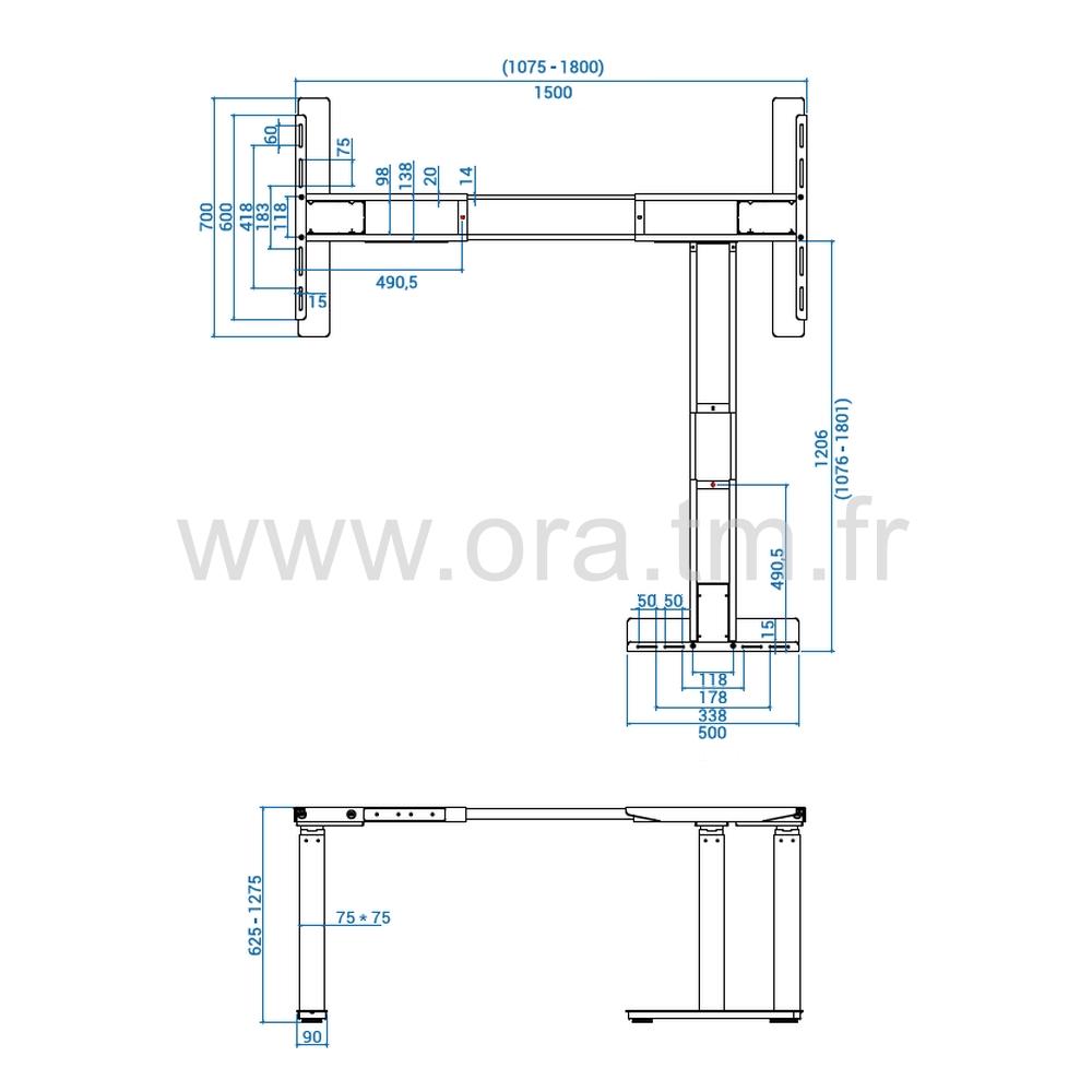 MOTOR3 - SYSTEME TABLE REGLABLE - ELECTRIQUE 3 MOTEURS