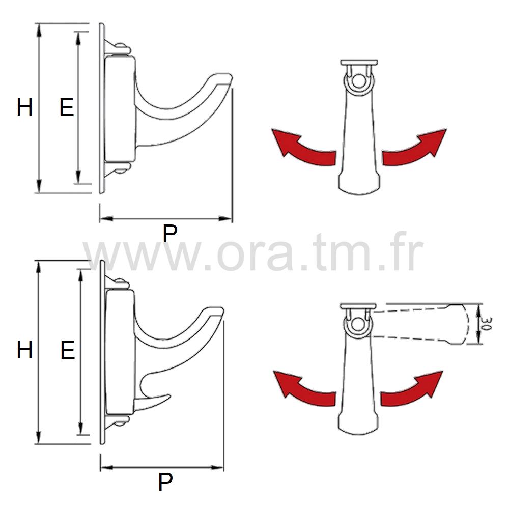 PAT80 - PATERE MURALE - FIXATION A VISSER