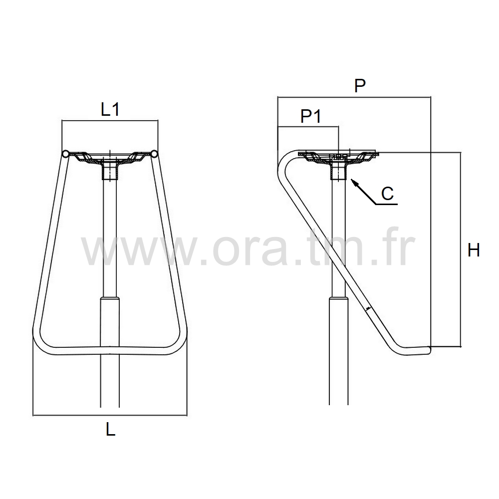 RPTT - REPOSE PIEDS - APPUI TUBE CYLINDRIQUE