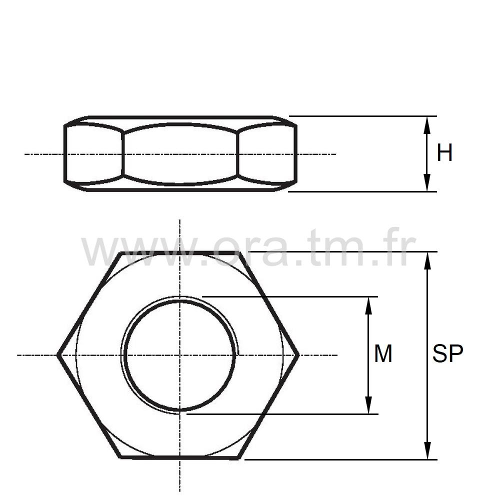 EHM - ECROU PA6 - HEXAGONAL TYPE HM