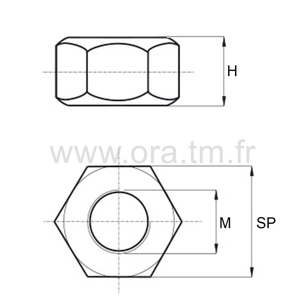 EHU - ECROU PLASTIQUE PA6 - HEXAGONAL TYPE HU