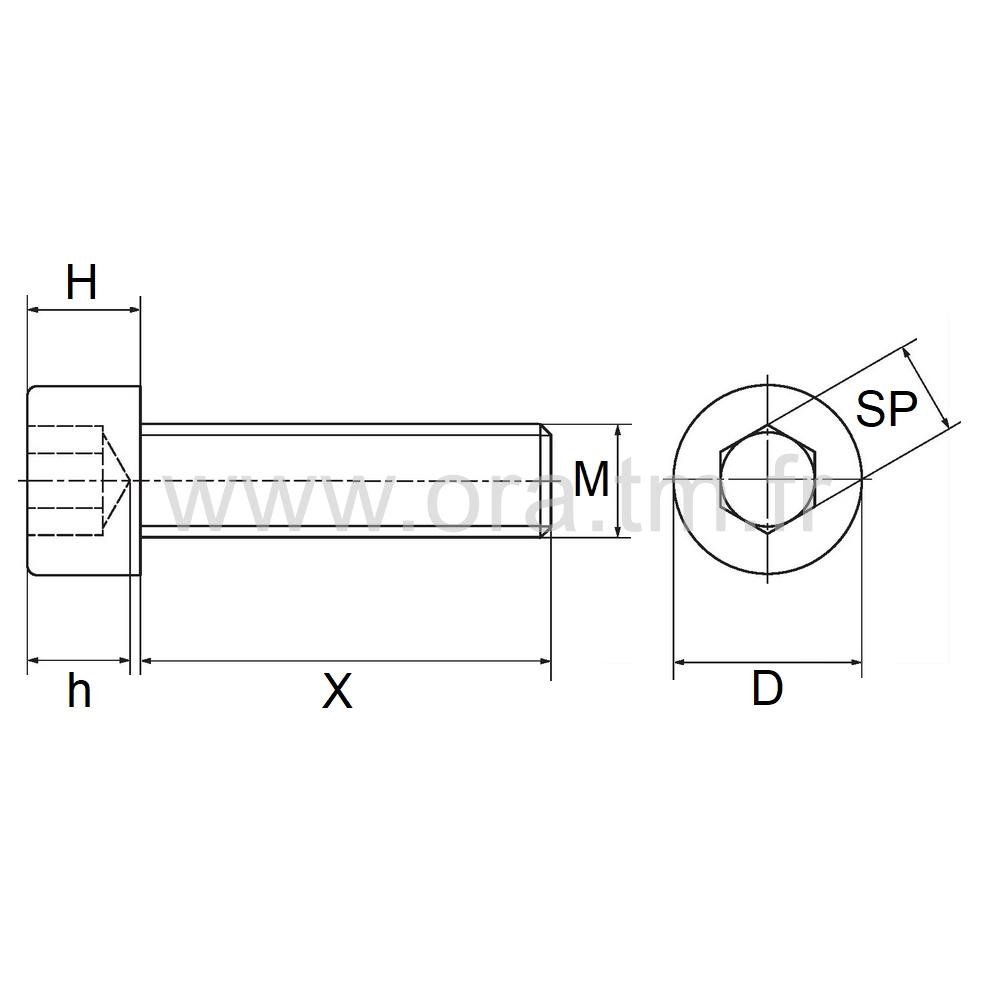 VCHC - VIS PA6 - TETE RONDE SIX PANS CREUX