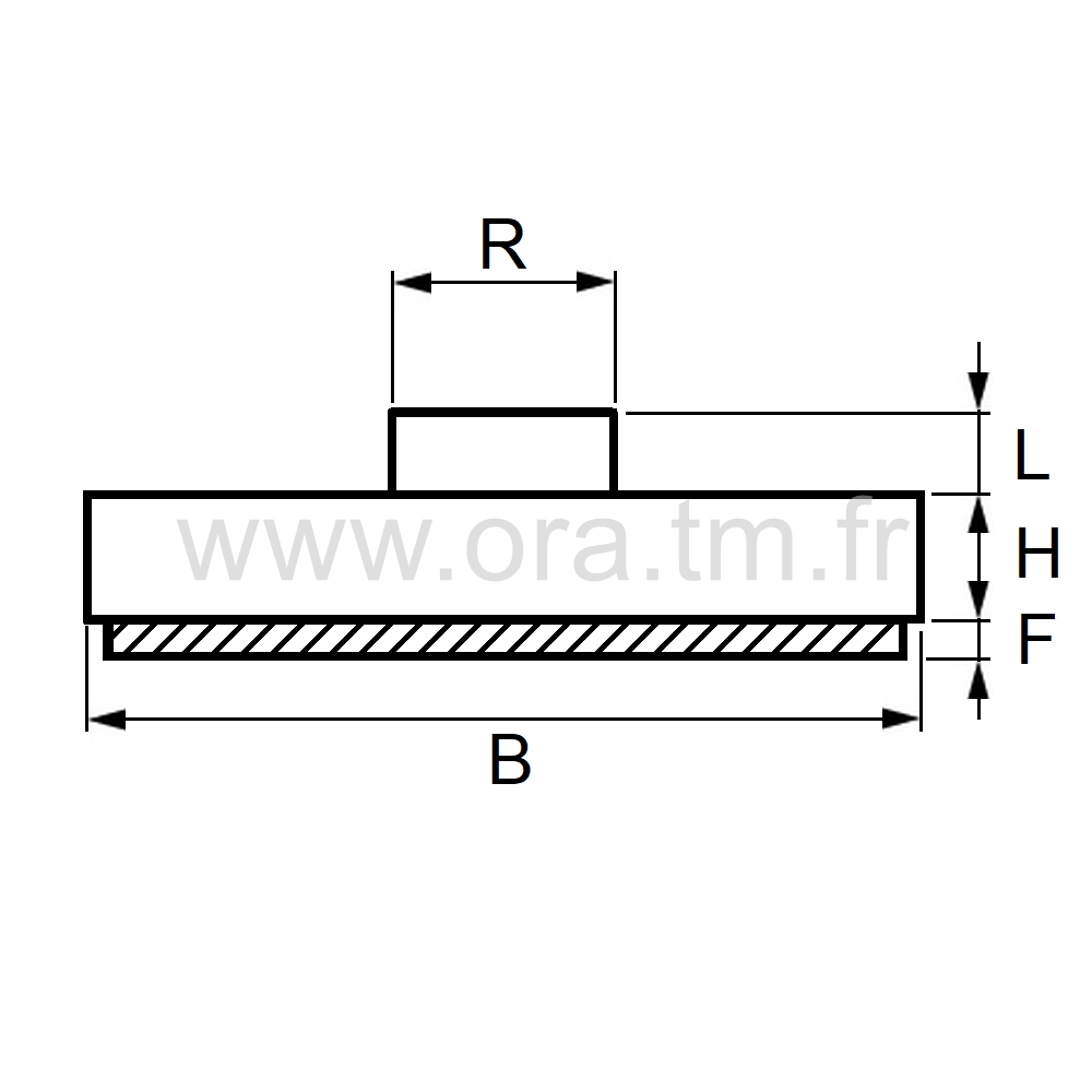GRVF - PATIN ATTACHE A FORCER - BASE CYLINDRIQUE
