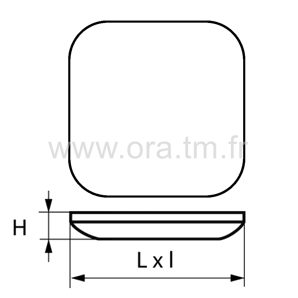 PAGC - PATIN GLISSOR PTFE - CARRE FIXATION ADHESIVE