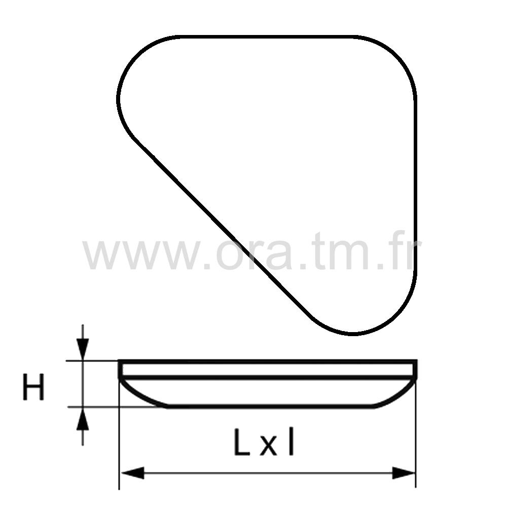 PAGT - PATIN GLISSOR PTFE - TRIANGLE FIXA ADHESIVE