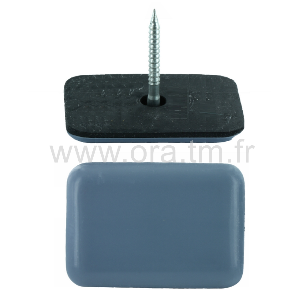 PCGR - PATIN GLISSOR PTFE - RECTANGLE FIXATION A CLOU