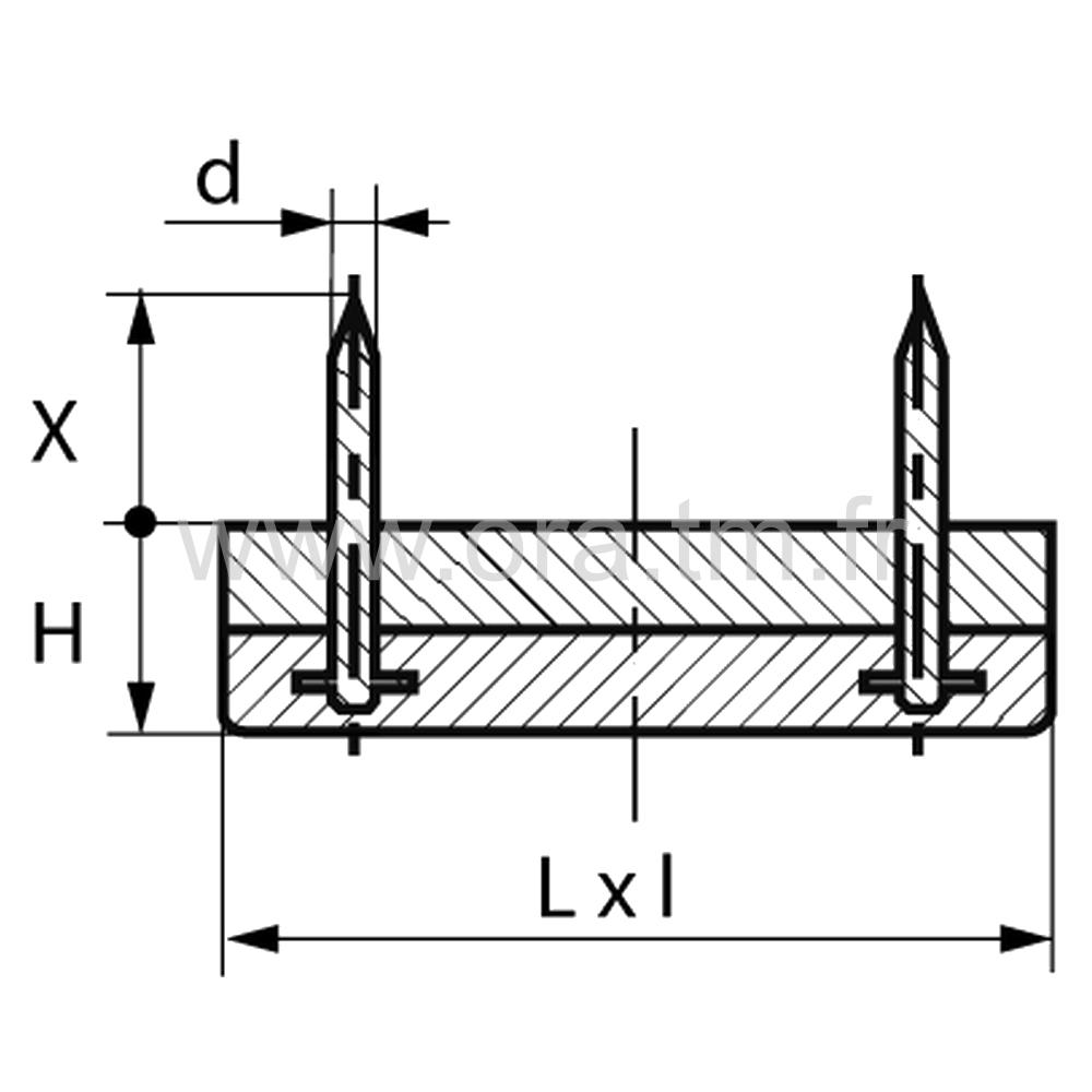 PCPAR - PATIN GLISSEUR A CLOU - BASE RECTANGULAIRE