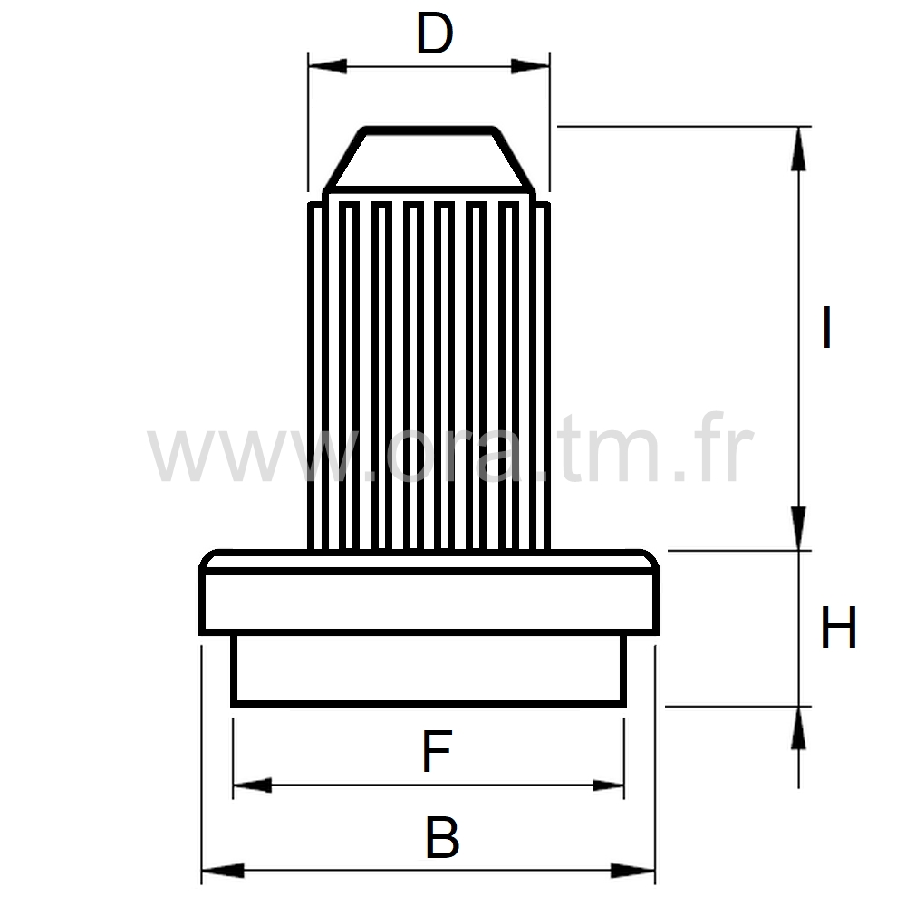PTDF - PATIN FEUTRE A TENON - BASE CYLINDRIQUE