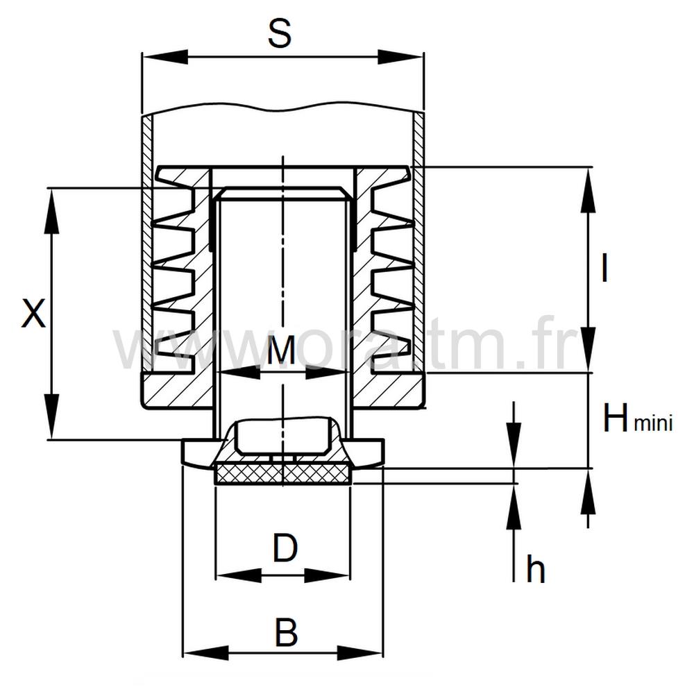 IVDFE - INSERT VERIN APPUI FEUTRE - SECTION CARREE