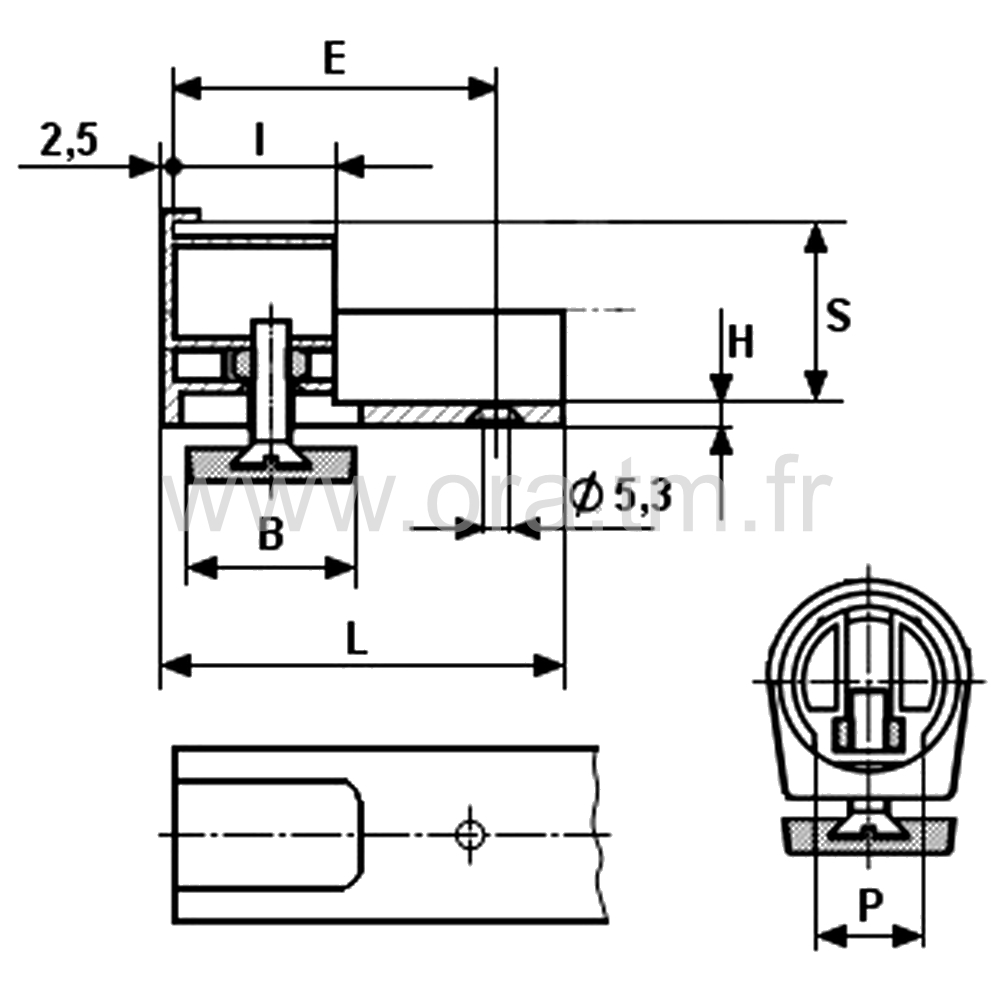 IVHY - INSERT VERIN LATERAL - SECTION CYLINDRIQUE
