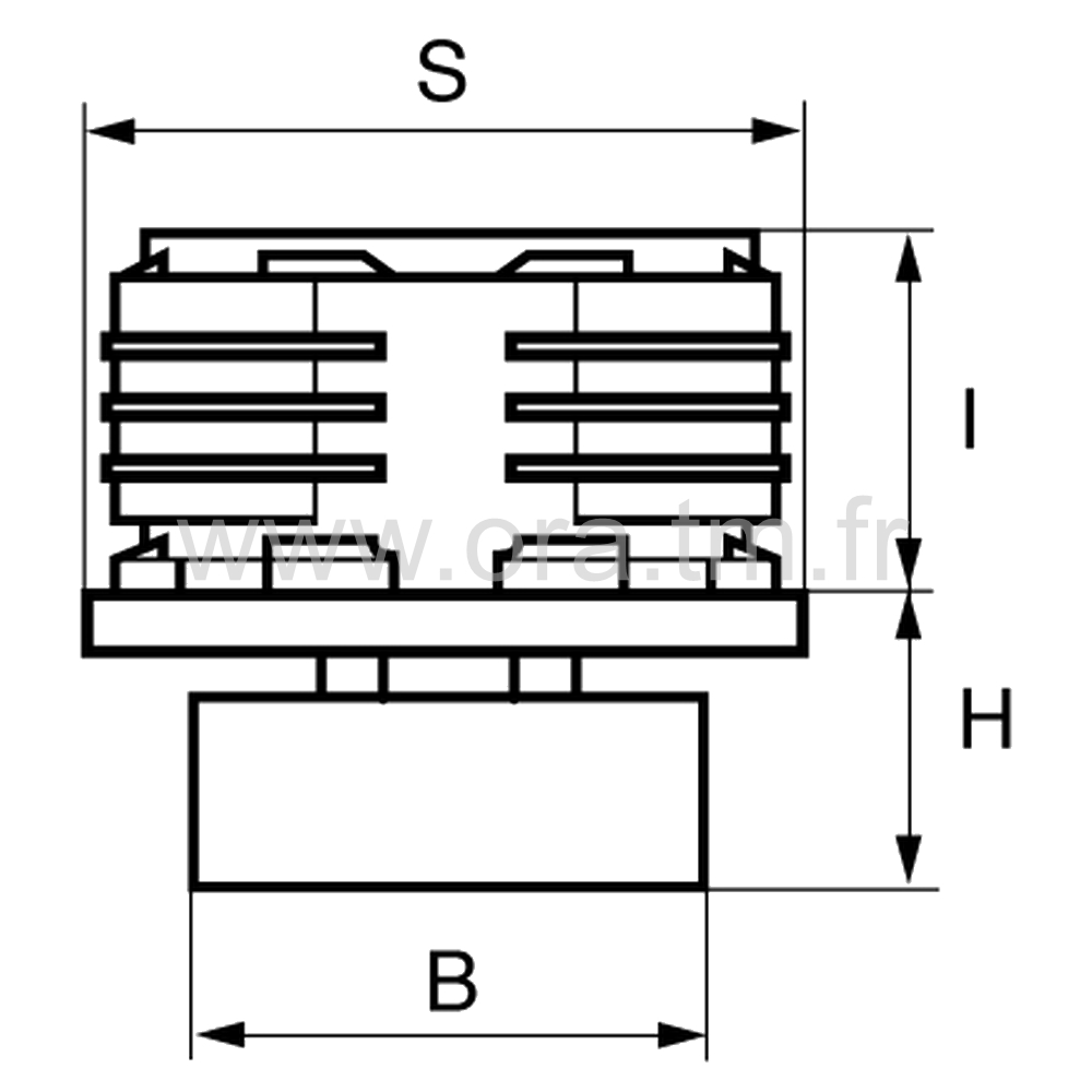 IVRB - INSERT VERIN - SECTION RECTANGULAIRE