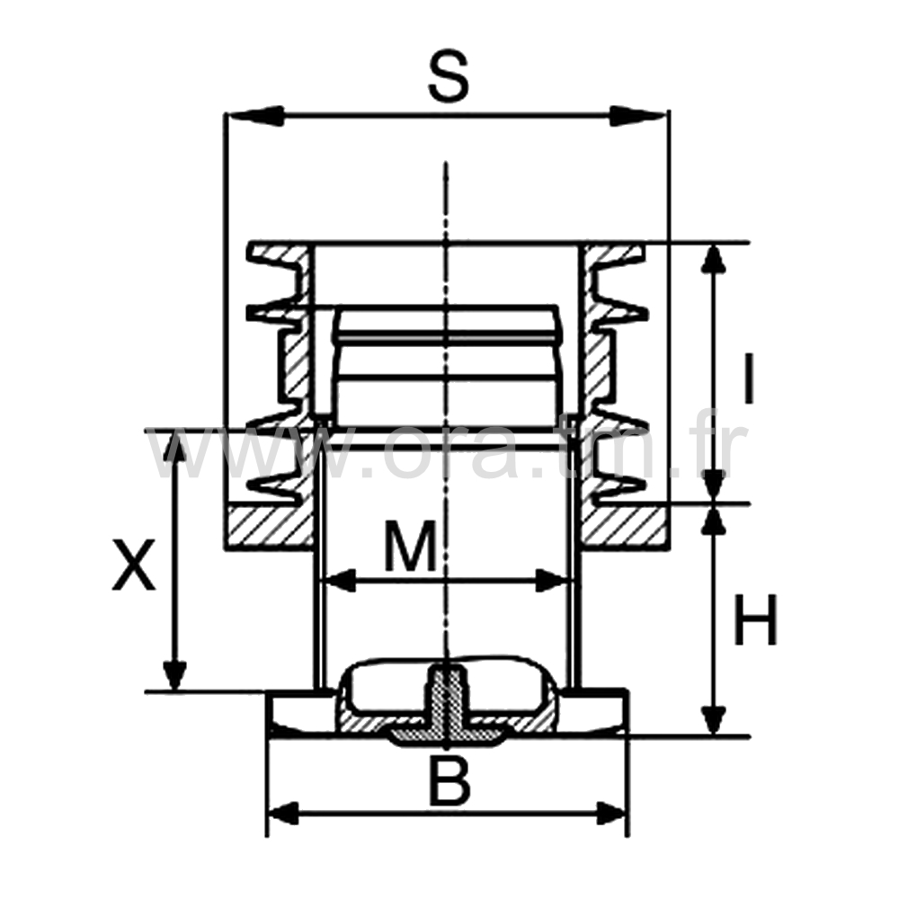 IVZAD - INSERT VERIN ANTIDERAPANT - SECTION CYLINDRIQUE