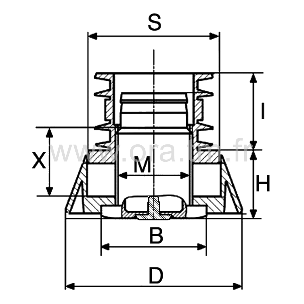 IVZBAD - INSERT VERIN ANTIDERAPANT - SECTION CYLINDRIQUE