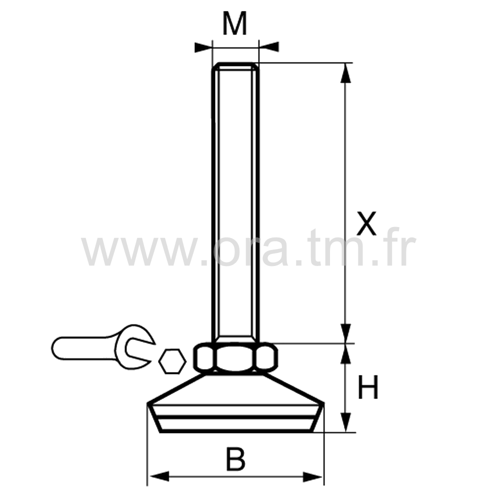 VIGM - VERIN GYROSCOPIQUE - BASE CAPOT METAL
