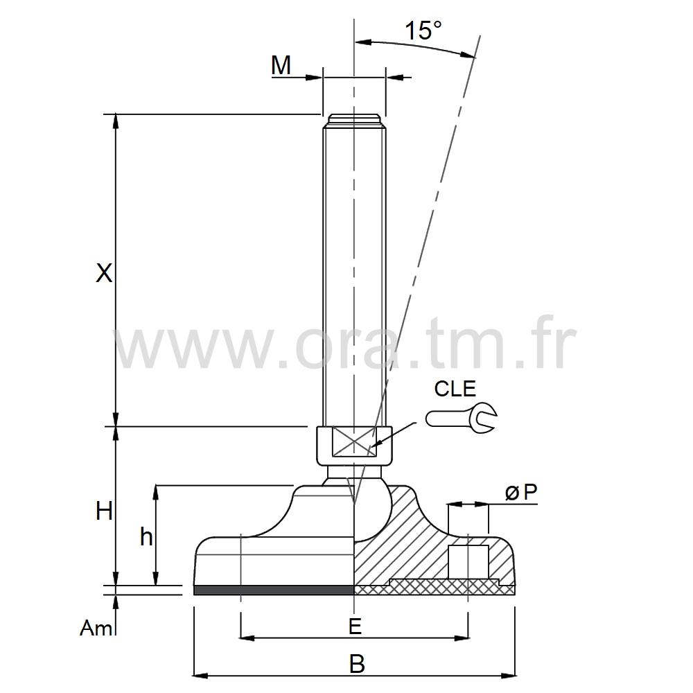 VMB2 - VERIN PIED DE MACHINE - PRISE 2 PLATS ANGLE 15°