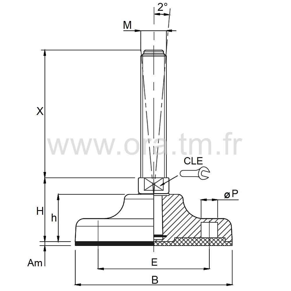VMB4 - VERIN PIED DE MACHINE - PRISE 2 PLATS ANGLE 2°