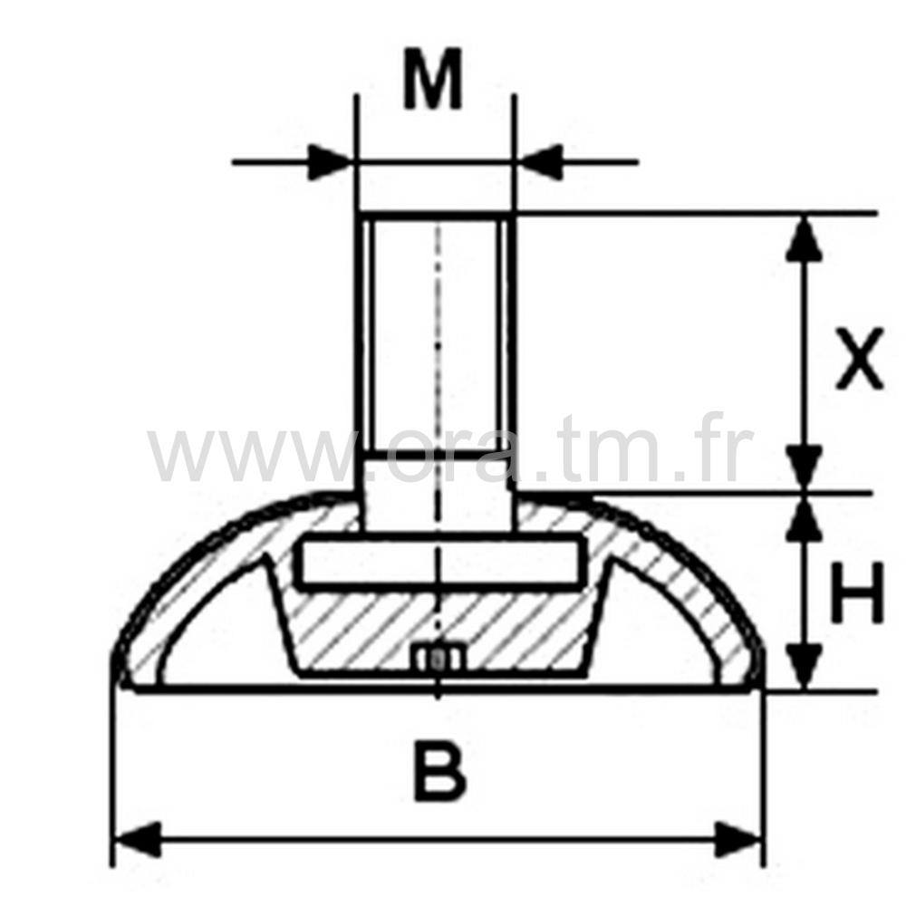 VPBC - VERIN RIGIDE REGLABLE - BASE CAPOT METAL