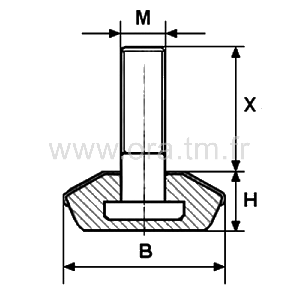 VPM - VERIN RIGIDE - BASE CAPOT METAL