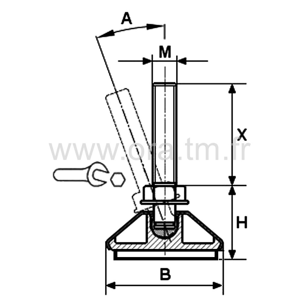 VRDXFE - VERIN ORIENTABLE FEUTRE - BASE CAPOT METAL
