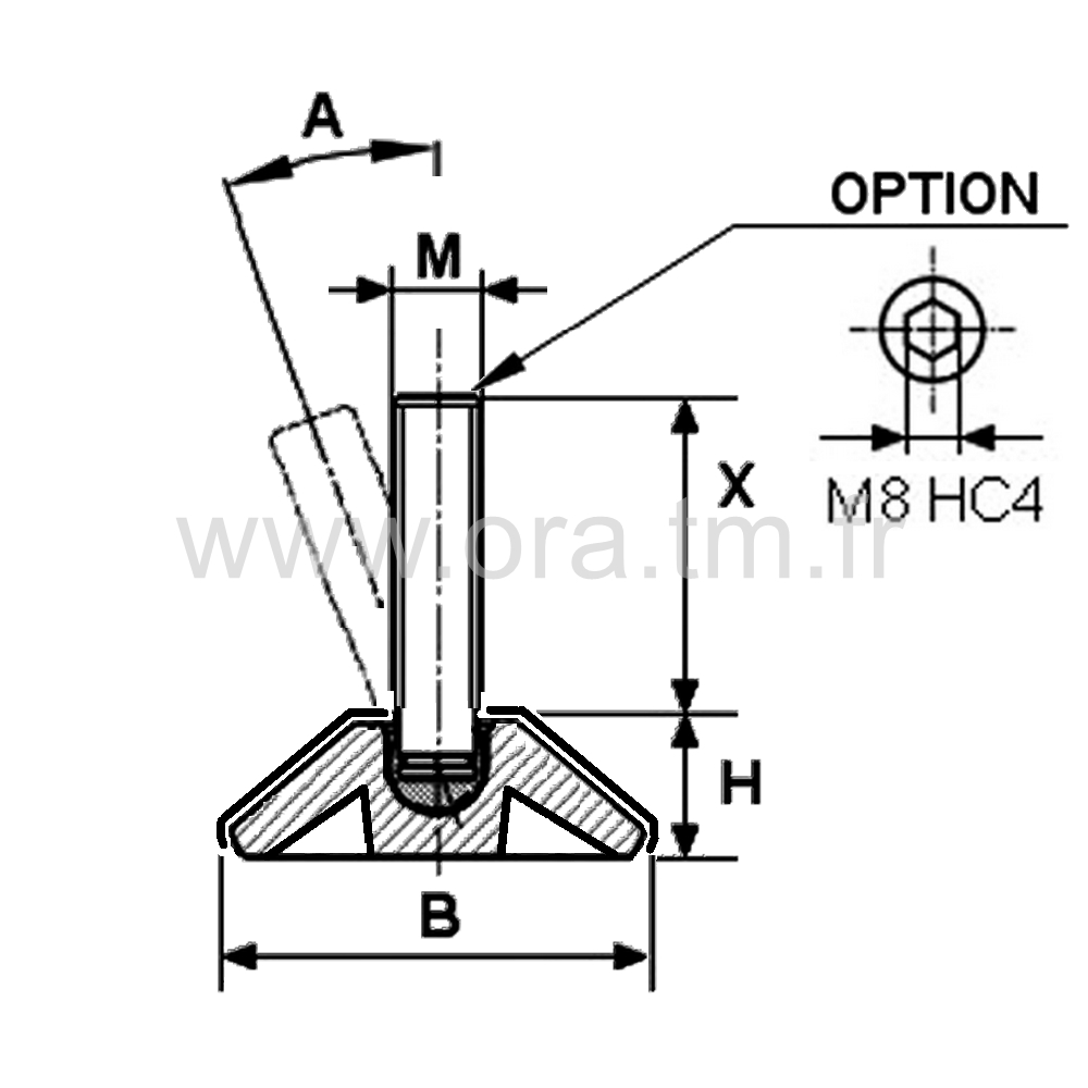 VRM - VERIN ORIENTABLE - BASE CAPOT METAL