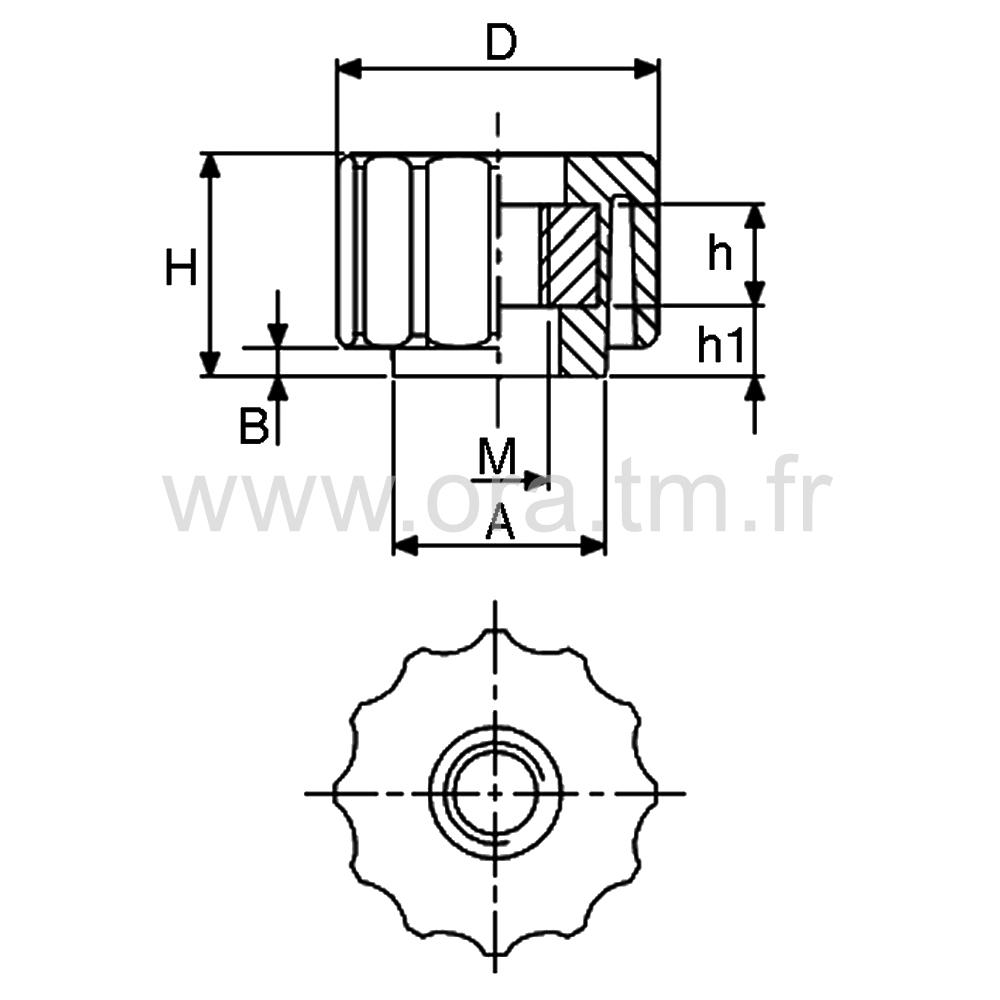 BSBD - BOUTON DE SERRAGE - PRISE CANNELEE