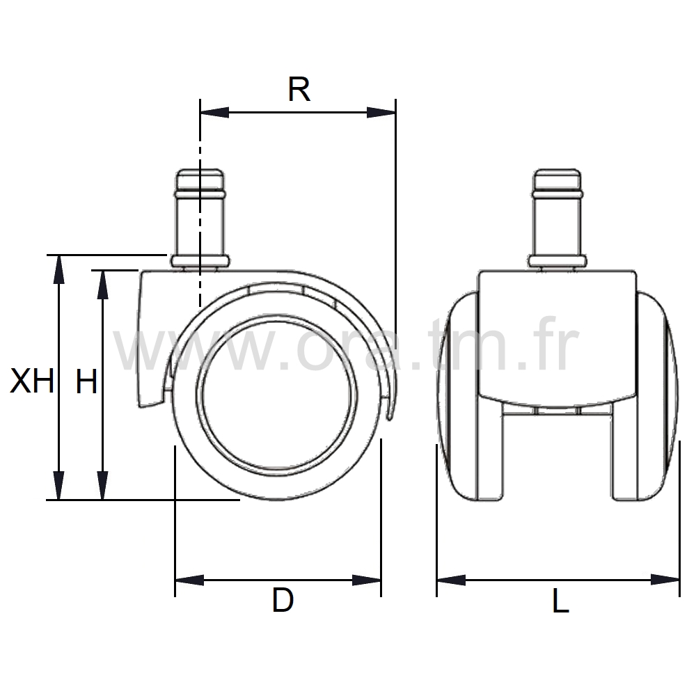 ROLER4 - ROULETTE DOUBLE GALET - ROULEMENT LIBRE & FREINE