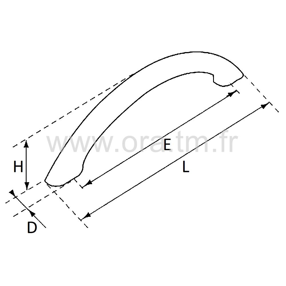 S14 - POIGNEE FIL ELLIPTIQUE - LARGEUR 14 ENTRAXE 96 MM