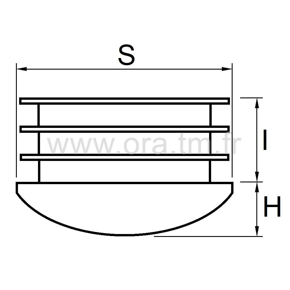 CTRB - COUVRE TUBE A AILETTES - SECTION RECTANGULAIRE