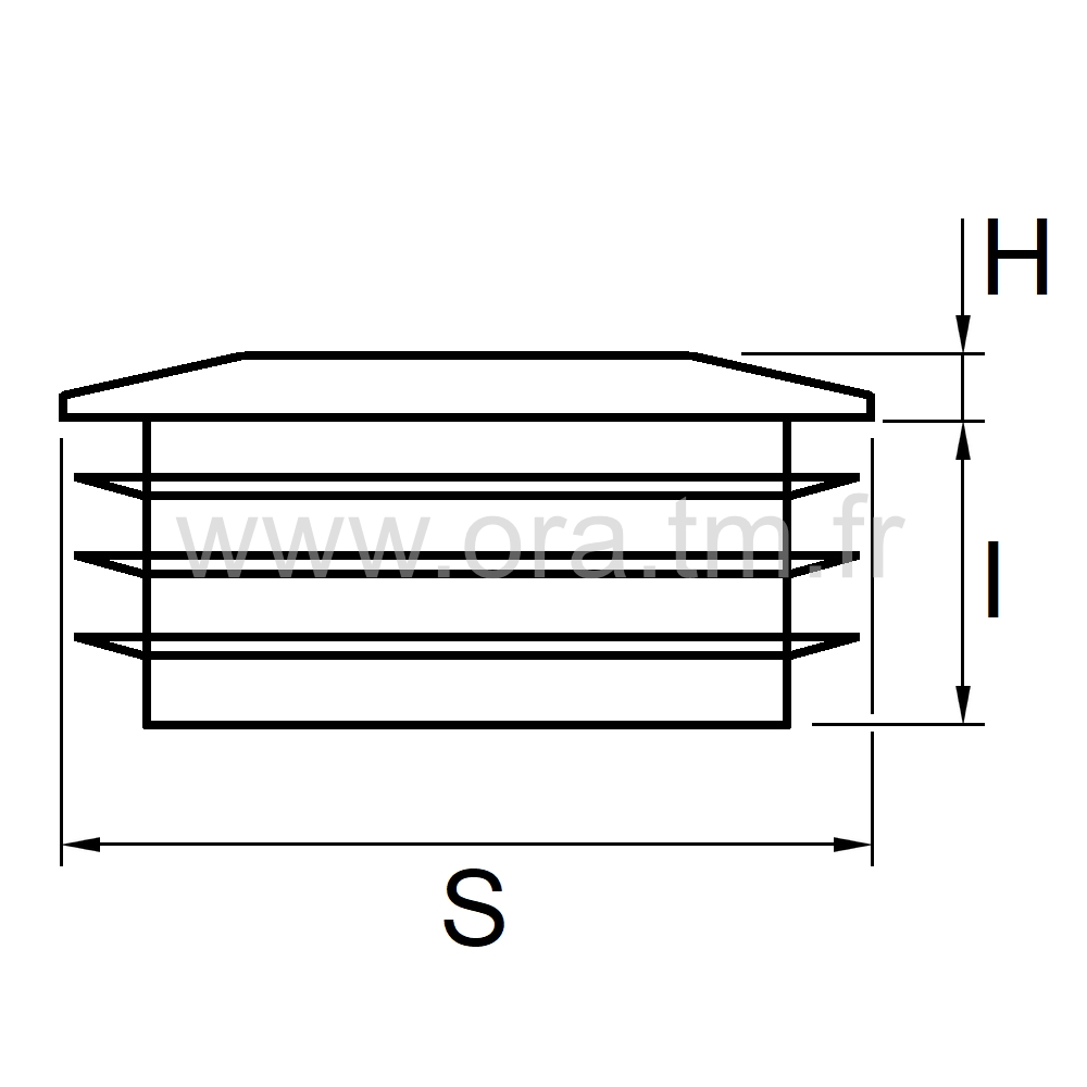 CTRS - COUVRE TUBE A AILETTES - SECTION RECTANGULAIRE