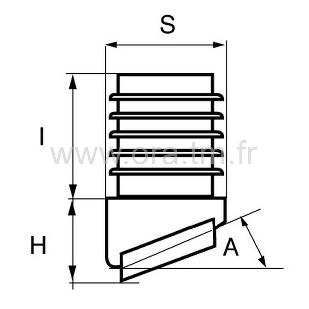 EAJGL - EMBOUT INCLINE A AILETTES - SECTION CYLINDRIQUE