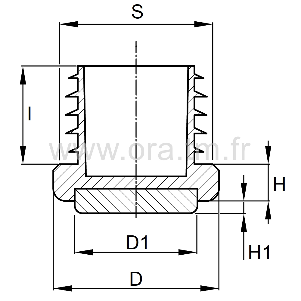 EAZAD - EMBOUT A AILETTES - SECTION CYLINDRIQUE