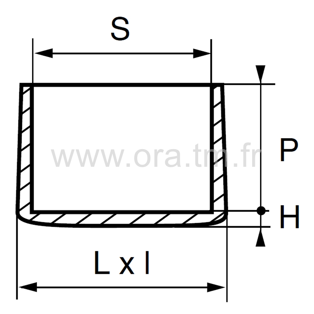 EER - EMBOUT ENVELOPPANT - TUBE RECTANGULAIRE