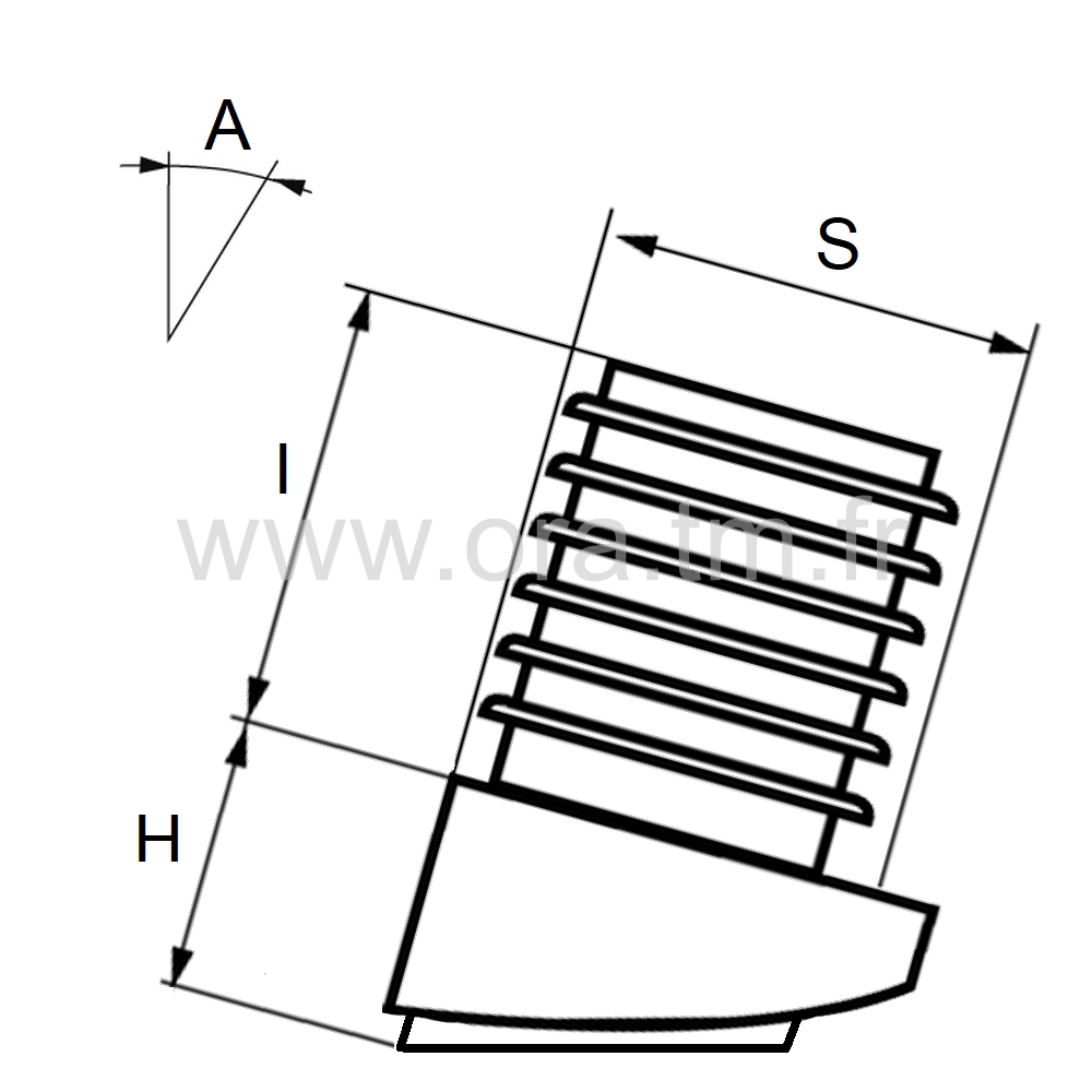 EIKFE - EMBOUT INCLINE A AILETTES - SECTION CYLINDRIQUE