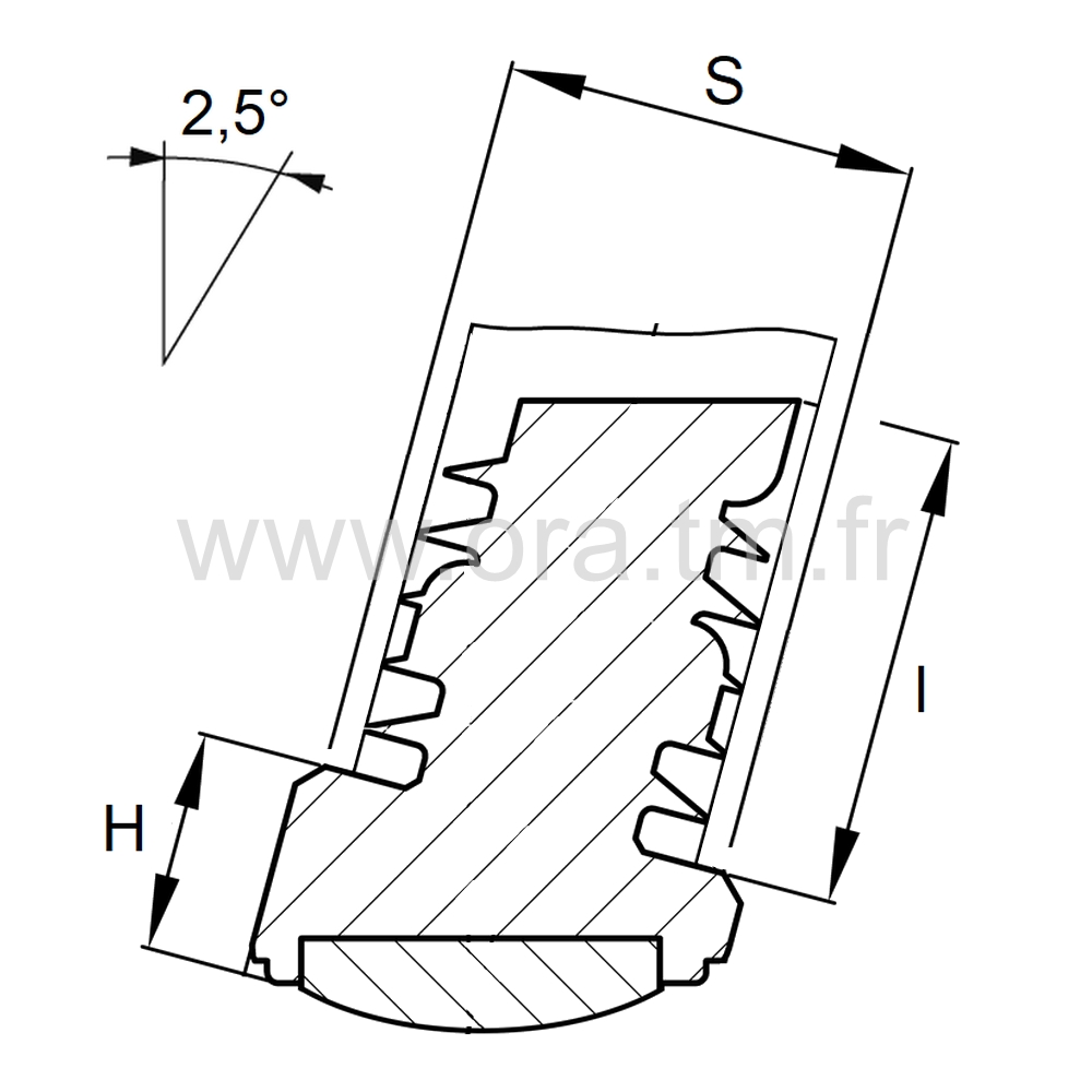 EIYGT - EMBOUT INCLINE A AILETTES - SECTION CYLINDRIQUE