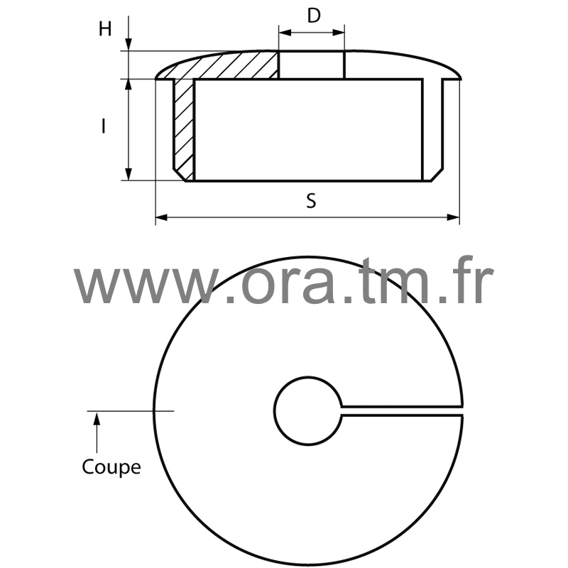 EPCA - EMBOUT PASSE CABLE - SECTION CYLINDRIQUE