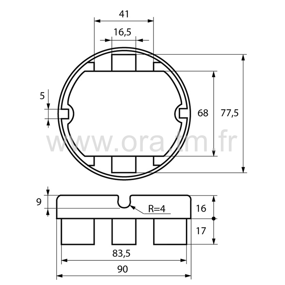 EPCY - EMBOUT PASSE CABLE - SECTION CYLINDRIQUE