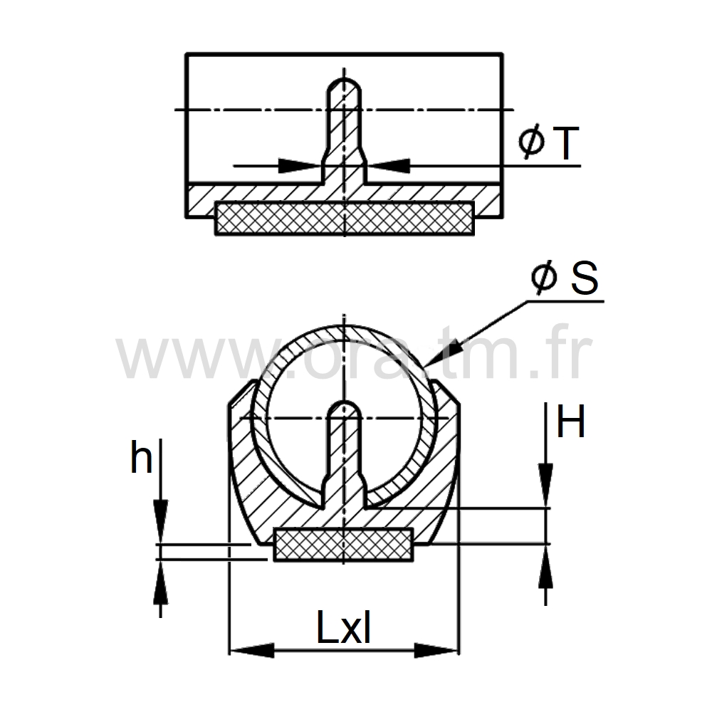 ESKFL - EMBOUT TRAINEAU A PINCER - SECTION CYLINDRIQUE