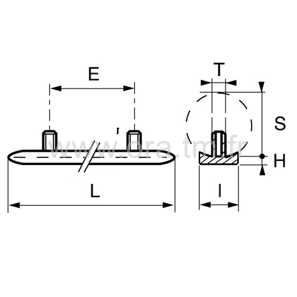 ESTL - EMBOUT TRAINEAU - SECTION CYLINDRIQUE