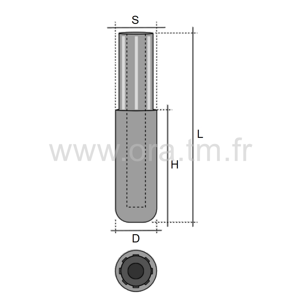 ETR - EMBOUT PIED DE TUBE - SECTION CYLINDRIQUE