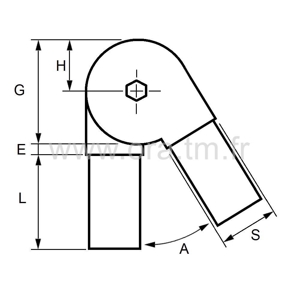 RCV40 - RACCORD ANGLE VARIABLE - SECTION CARREE